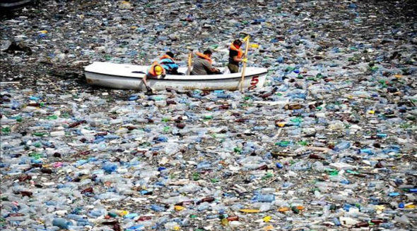 People are cleaning up garbage in the river